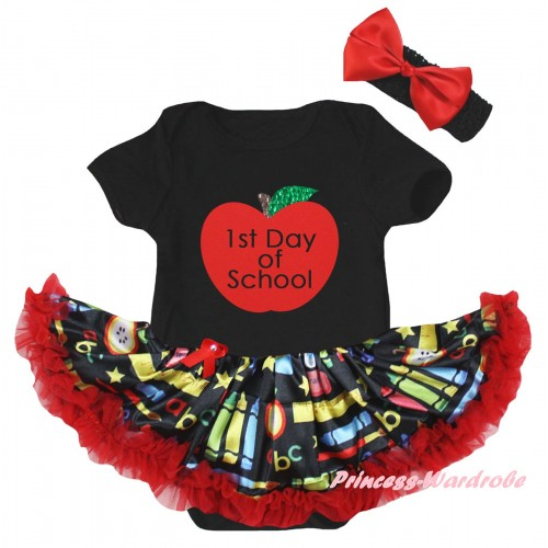 Black Baby Bodysuit Red Stationery Pettiskirt & 1st Day Of School Painting JS6776