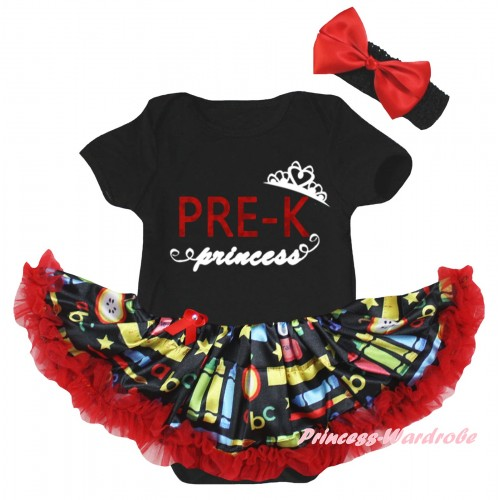 Black Baby Bodysuit Red Stationery Pettiskirt & PRE-K Princess Painting JS6777