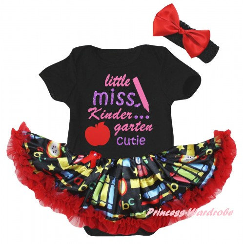 Black Baby Bodysuit Red Stationery Pettiskirt & Little Miss Kindergarten Cutie Painting JS6778