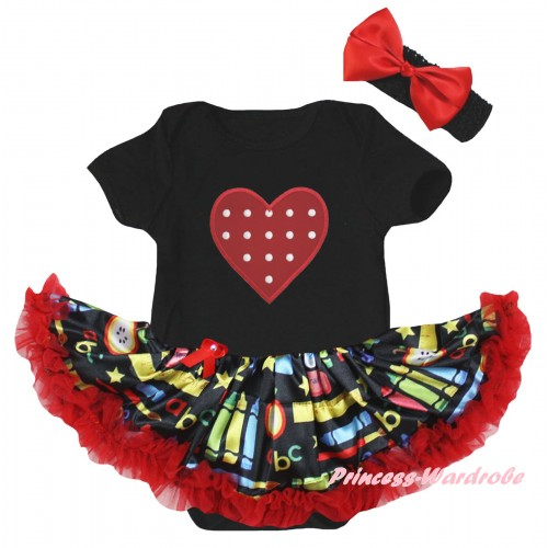 Black Baby Bodysuit Red Stationery Pettiskirt & Red White Dots Heart Print JS6781