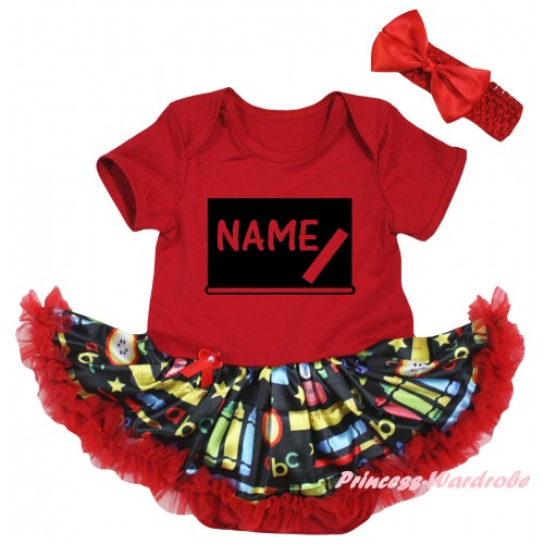Personalized Custom Red Baby Bodysuit Red Stationery Pettiskirt & Blackboard Baby's Name Painting JS6785