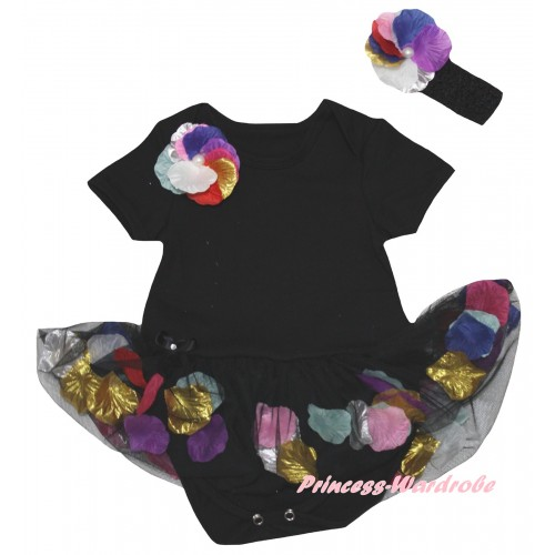 Black Baby Bodysuit Black Petals Flowers Pettiskirt & Rainbow Rosettes Print JS6789