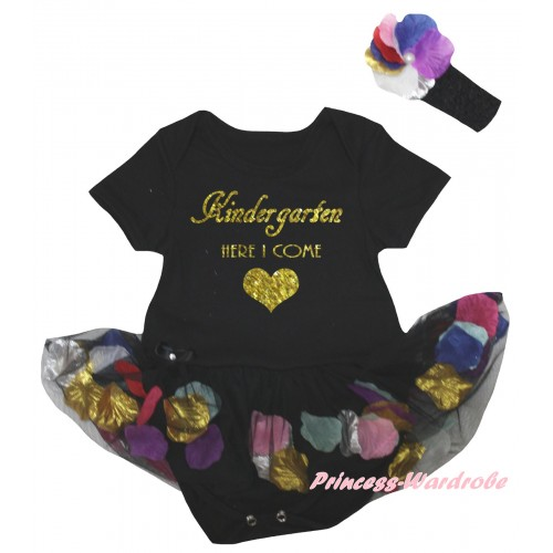 Black Baby Bodysuit Black Petals Flowers Pettiskirt & Kindergarten Here I Come Painting JS6790
