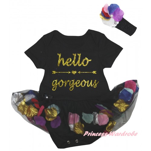 Black Baby Bodysuit Black Petals Flowers Pettiskirt & Hello Gorgeous Painting JS6791