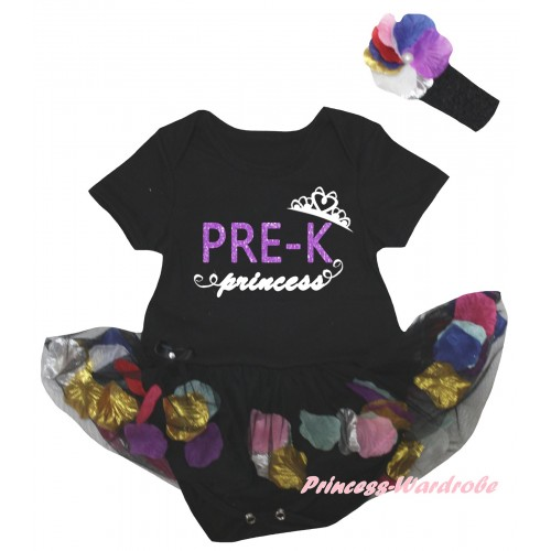 Black Baby Bodysuit Black Petals Flowers Pettiskirt & PRE-K Princess Painting JS6792