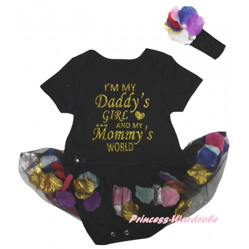 Father's Day Black Baby Bodysuit Black Petals Flowers Pettiskirt & I'm My Daddy's Girl And My Mommy's World Painting JS6794