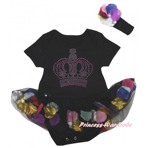 Black Baby Bodysuit Black Petals Flowers Pettiskirt & Sparkle Rhinestone Crown Print JS6796