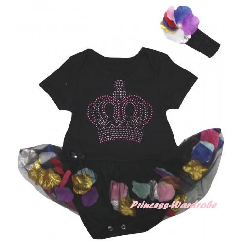 Black Baby Bodysuit Black Petals Flowers Pettiskirt & Sparkle Rhinestone Crown Print JS6796