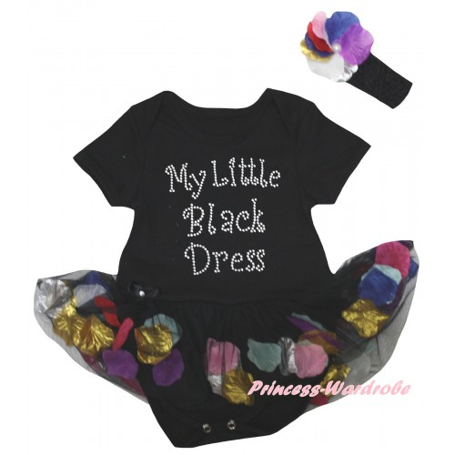 Black Baby Bodysuit Black Petals Flowers Pettiskirt & Sparkle Rhinestone My Little Black Dress Print JS6797