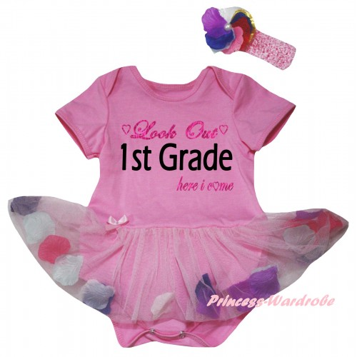 Light Pink Baby Bodysuit Light Pink Petals Flowers Pettiskirt & Look Out 1st Grade Here I Come Painting JS6812