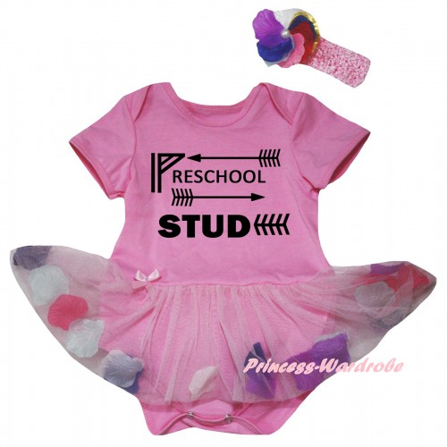 Light Pink Baby Bodysuit Light Pink Petals Flowers Pettiskirt & Preschool Stud Painting JS6813