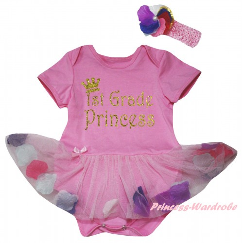 Light Pink Baby Bodysuit Light Pink Petals Flowers Pettiskirt & 1st Grade Princess Painting JS6814