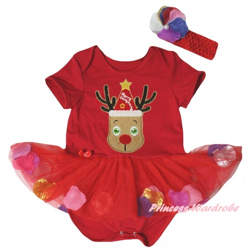 Christmas Red Baby Bodysuit Red Petals Flowers Pettiskirt & Red Hat Reindeer Print JS6825