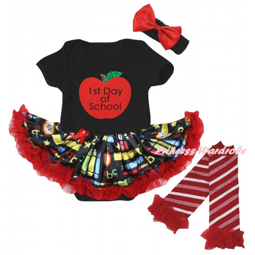 Black Baby Bodysuit Red Stationery Pettiskirt & 1st Day Of School Painting & Warmers Leggings JS6831
