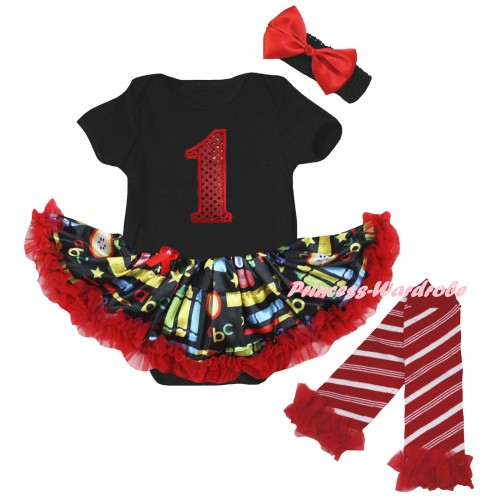 Black Baby Bodysuit Red Stationery Pettiskirt & 1st Red Sequins Birthday Number Print & Warmers Leggings JS6833