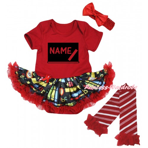 Personalized Custom Red Baby Bodysuit Red Stationery Pettiskirt & Blackboard Baby's Name Painting JS6835