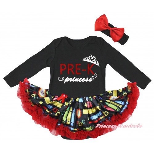 Black Long Sleeve Baby Bodysuit Red Stationery Pettiskirt & PRE-K Princess Painting JS6861
