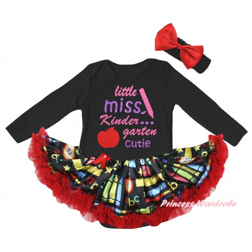 Black Long Sleeve Baby Bodysuit Red Stationery Pettiskirt & Little Miss Kindergarten Cutie Painting JS6862