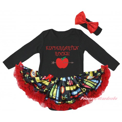 Black Long Sleeve Baby Bodysuit Red Stationery Pettiskirt & Kindergarten Rocks Painting JS6863