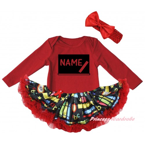 Personalized Custom Red Long Sleeve Baby Bodysuit Red Stationery Pettiskirt & Blackboard Baby's Name Painting JS6869