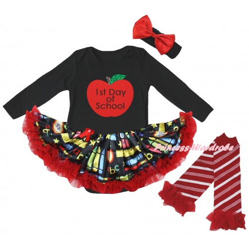 Black Long Sleeve Baby Bodysuit Red Stationery Pettiskirt & 1st Day Of School Painting & Warmers Leggings JS6876