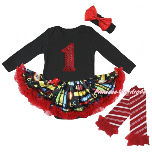 Black Long Sleeve Baby Bodysuit Red Stationery Pettiskirt & 1st Red Sequins Birthday Number Print & Warmers Leggings JS6878