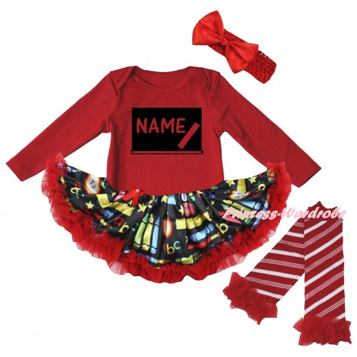 Personalized Custom Red Long Sleeve Baby Bodysuit Red Stationery Pettiskirt & Blackboard Baby's Name Painting & Warmers Leggings JS6880