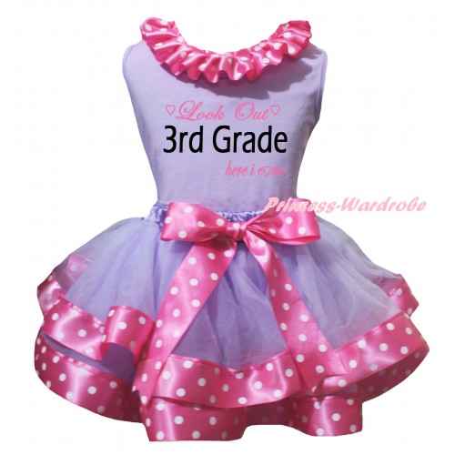 Lavender Pettitop Pink White Dots Lacing & Look Out 3rd Grade Here I Come Painting & Lavender Pink White Dots Trimmed Pettiskirt MG3152