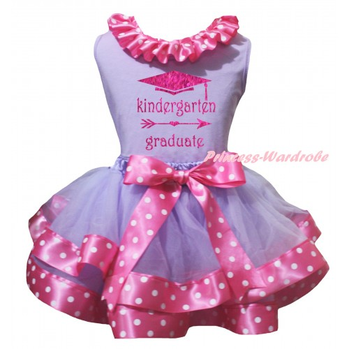 Lavender Pettitop Pink White Dots Lacing & Kindergarten Graduate Painting & Lavender Pink White Dots Trimmed Pettiskirt MG3153