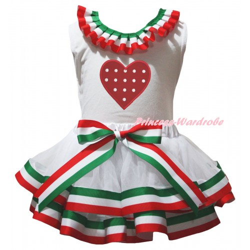 White Pettitop Red White Green Lacing & Red White Dots Heart Print & Red White Green Striped Trimmed Pettiskirt MG3174
