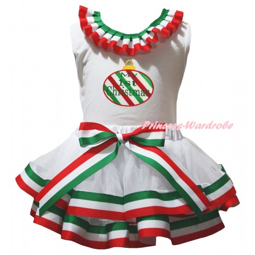 White Pettitop Red White Green Lacing & My 1st Christmas Print & Red White Green Striped Trimmed Pettiskirt MG3176