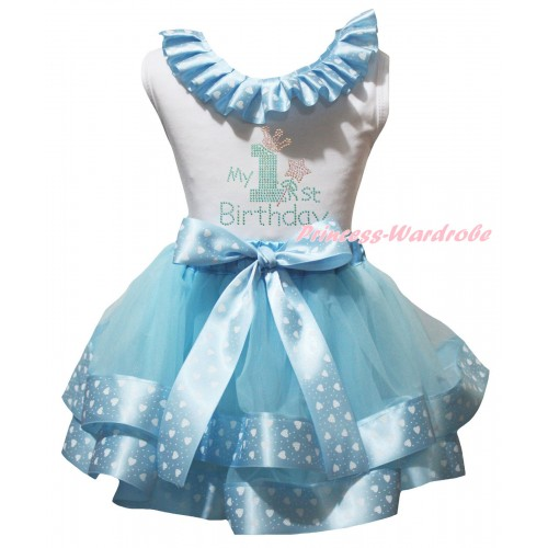 White Baby Pettitop White Heart Dots Lacing & My 1st Birthday Print & Light Blue White Heart Dots Trimmed Newborn Pettiskirt NG2558