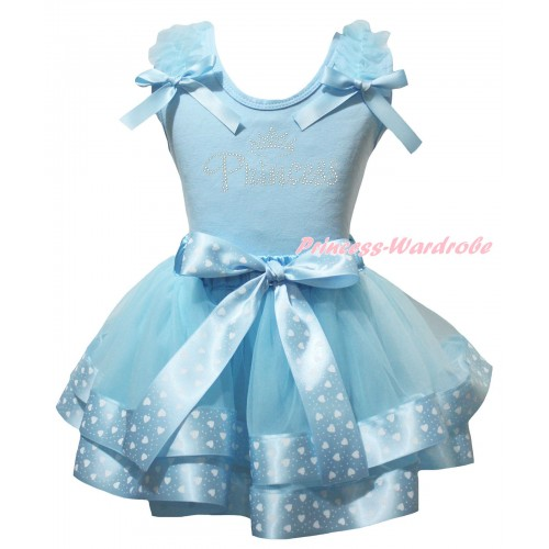 Light Blue Baby Pettitop White Heart Dots Ruffles Light Blue Bows & Sparkle Rhinestone Princess Print & Light Blue White Heart Dots Trimmed Newborn Pettiskirt NG2564