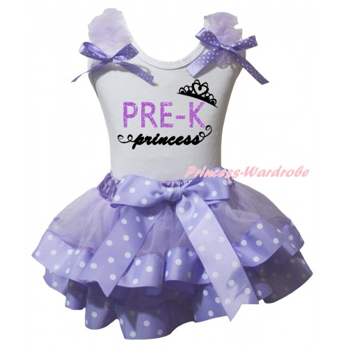 White Baby Pettitop Lavender Ruffles Lavender White Dots Bow & PRE-K Princess Painting Painting & Lavender White Dots Trimmed Newborn Pettiskirt NG2576