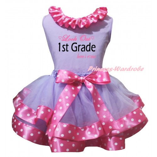 Lavender Baby Pettitop Pink White Dots Lacing & Look Out 1st Grade Here I Come Painting & Lavender Pink White Dots Trimmed Newborn Pettiskirt NG2577