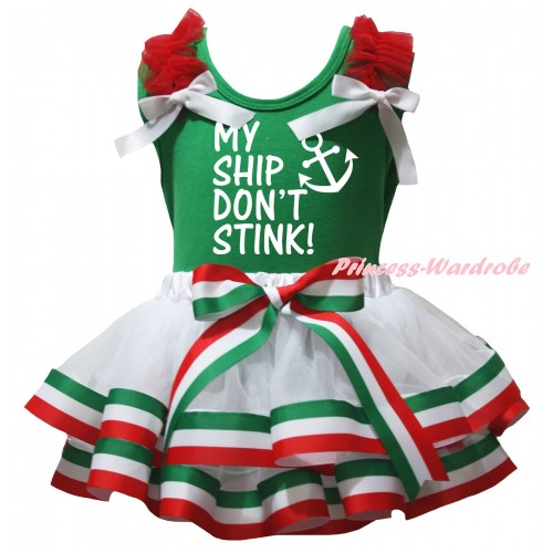 Green Baby Pettitop Red Ruffles White Bows & My Ship Don't Stink Painting & Red White Green Striped Trimmed Newborn Pettiskirt NG2587