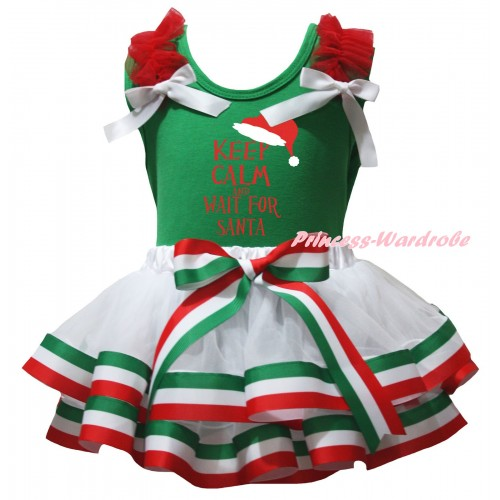 Christmas Green Baby Pettitop Red Ruffles White Bows & KEEP CALM AND WAIT FOR SANTA Painting & Red White Green Striped Trimmed Newborn Pettiskirt NG2588