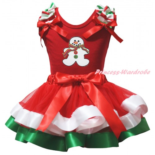 Christmas White Baby Pettitop Red White Green Lacing & Christmas Gingerbread Snowman Print & Red White Green Striped Trimmed Newborn Pettiskirt NG2601