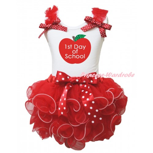 White Baby Tank Top Red Ruffles Minnie Dots Bows & 1st Day of School Painting & Hot Red Petal Newborn Pettiskirt NG2606