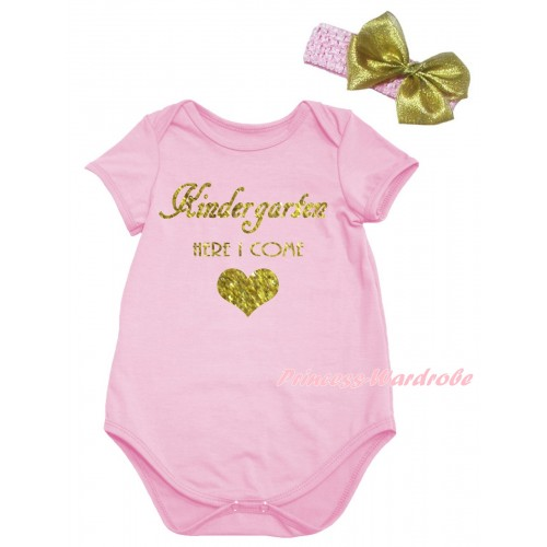 Light Pink Baby Jumpsuit & Kindergarten Here I Come Painting & Light Pink Headband Gold Bow TH1052