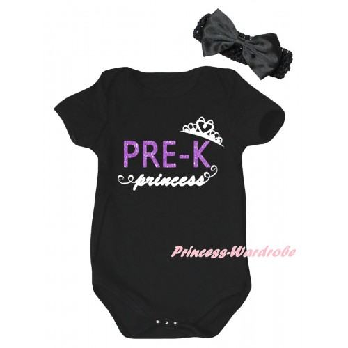 Black Baby Jumpsuit & PRE-K Princess Painting & Black Headband Bow TH1055