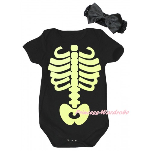 Halloween Black Baby Jumpsuit & Noctilucous Skeleton Painting & Black Headband Bow TH1058