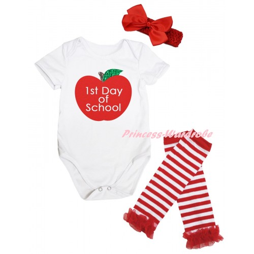 White Baby Jumpsuit & 1st Day Of School Painting & Red Headband Bow & Red Ruffles Red White Striped Leg Warmer Set TH1070