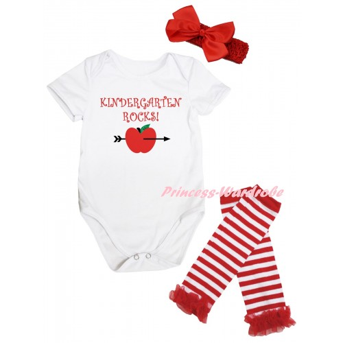 White Baby Jumpsuit & Kindergarten Rocks! Painting & Red Headband Bow & Red Ruffles Red White Striped Leg Warmer Set TH1071
