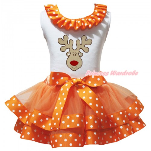 Christmas White Tank Top Orange White Dots Lacing & Christmas Reindeer Print & Orange White Dots Trimmed Pettiskirt MG3206