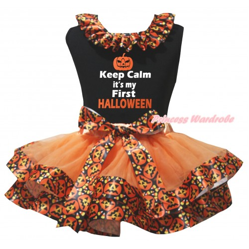 Halloween Black Tank Top Black Pumpkin Lacing & Keep Calm It's My First Halloween Painting & Orange Black Pumpkin Trimmed Pettiskirt MG3212