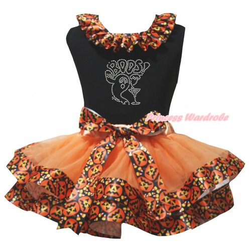 Halloween Black Tank Top Black Pumpkin Lacing & Sparkle Rhinestone Boos! Ghost Print & Orange Black Pumpkin Trimmed Pettiskirt MG3221