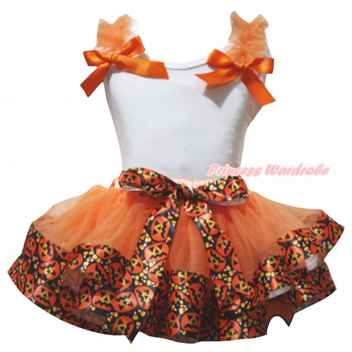 Halloween White Tank Top Orange Ruffles & Bow & Orange Black Pumpkin Trimmed Pettiskirt MG3236