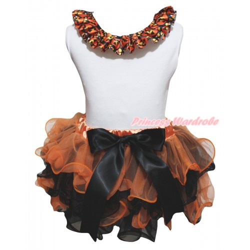 Halloween White Tank Top With Black Pumpkin Lacing & Orange Black Petal Pettiskirt With Black Bow MG3248