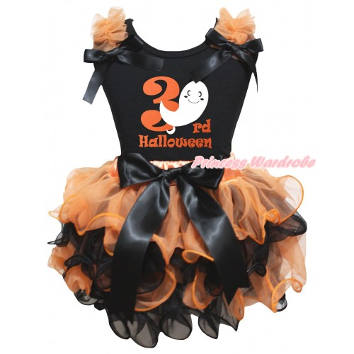 Halloween Black Tank Top Orange Ruffles Bows & Ghost 3rd Halloween Painting & Orange Black Petal Pettiskirt With Black Bow MG3255